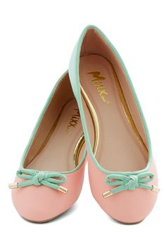 Admire the Adorable Flat. As you walk past a shop window in these pastel flats, you cant help but give your own reflection a double take! #pink #modcloth