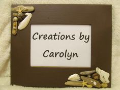 5x7 wall mounting photo frame Creations by Carolyn on fb #shell decore #shell crafts #picture frame #beach