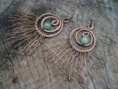 Copper Necklace&Earrings Set with Jade bead by MillieDesignShop