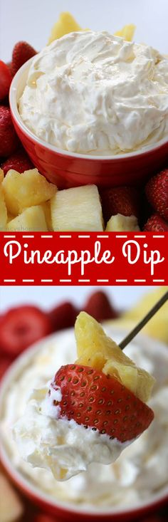 Pineapple Dip: Requires just 4 simple ingredients and can be made so quick. An easy dip that is great for dipping fruit, Nilla Wafers, and more!