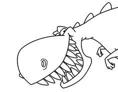 Dibujo de Dinosaurio de dientes afilados para colorear