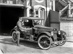 """""""Wouldn't you really rather have a Buick?"""" This Buick roadster was photographed in 1922 at the California Street firehouse in San Francisco. The fine scratches from the finishing of the painted surface are visible, but the finish itself - much like the 1919 Studebaker elsewhere on this board - is still quite reflective."""