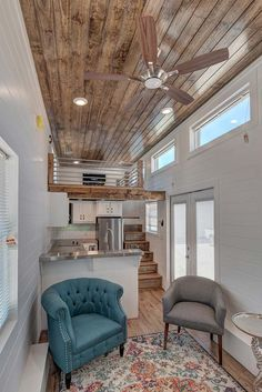 "The ""Journey"" tiny house on wheels by stunner with a great space for entertaining! Tiny House Movement // Tiny Living // Tiny House Living Room // Tiny Home Kitchen // Tiny House Swoon, Tiny House Living, Tiny House Plans, Home And Living, Tiny House Loft, Small Living, Tiny Loft, Home Design Living Room, Small Room Design"