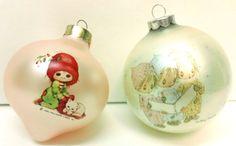 9.95 Vtg Hallmark Glass Ornaments Betsey Clark Carolers Girl Kitten Pink 1975 1984