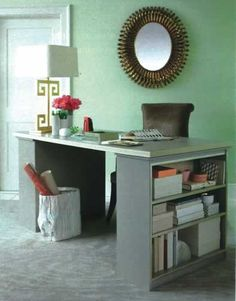homemade desk idea-love the bookcases on the end