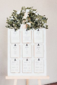 Elegant Shabby Chic Wedding - White and Greenery seating chart
