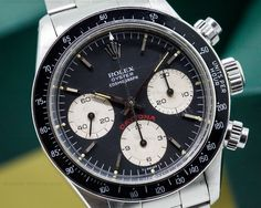 """Rolex Daytona 6263 Cosmograph """"Big Red"""" Panda Dial 6263, stainless steel case in good condition on a stainless steel Oyster bracelet (78350), manual wind movement (Caliber 727), chronograph, black dial with silver subdials, the dial and hands are original and have not been restored, red DAYTONA is bright and vibrant, screw-down caseback and chronograph pushers, acrylic crystal, bakelight tachymeter bezel in excellent condition"""