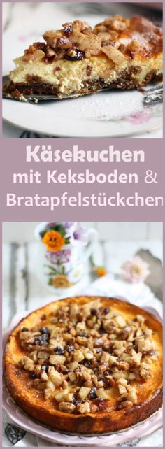 Käsekuchen mit Bratapfelstückchen & Keksboden
