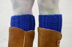 Knit Boot Cuffs Electric Blue. Woman Boot Cuff Sock. by HaKaMaDi4