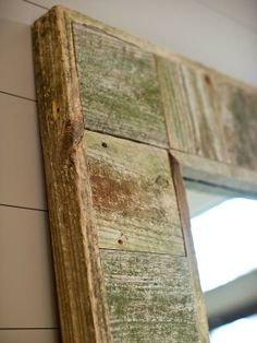 reclaimed wood mirror frame - Click image to find more Home Decor Pinterest pins