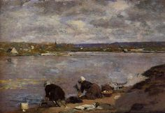 Laundresses on the Banks of the Touques - Eugene Boudin  ..Completion Date: 1883