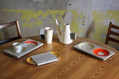 """Concrete & porcelain tableware by Raili Keiv. Spring the Estonian design was exhibited in the Belgian capital at an exhibition """"Size doesn't matter"""". London Design Festival, Coffee Set, Contemporary Design, Concrete, Porcelain, Pottery, House Design, Ceramics, Table Decorations"""