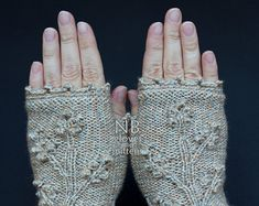 Hand Knitted Fingerless Gloves Gift Ideas by nbGlovesAndMittens