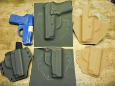 DIY Holster Tips & Tricks: Making Durable Templates - the key to speeding up production Pistol Holster, Leather Holster, Leather Tooling, Airsoft Gear, Tactical Gear, Coldre Kydex, Man Crafts, Kydex Sheath, Tips & Tricks