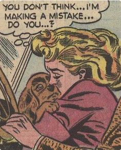 Blond girl and puppy dog comic book pop art illustration vintage retro
