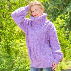 SUPERTANYA PURPLE Hand Knitted Mohair Wool Sweater Turtleneck Boutique Pullover #SuperTanya #Turtleneck