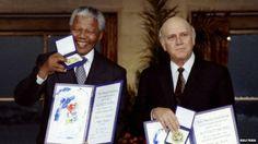 Nelson Mandela and F.W. de Klerk receiving the Nobel Peace prize. (1993)