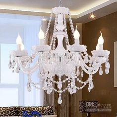 Wholesale Chandeliers & Pendant Lamps - Buy White Crystal Chandelier with 8 Lights - Candle Featured Style, $357.07   DHgate