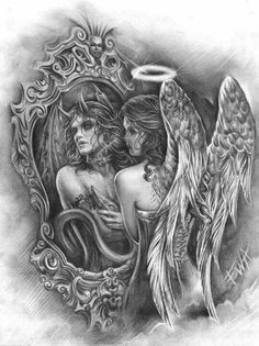 That would be a great tattoo - Nail Design Ideas! - Skull etc tattoos - . - That would be a great tattoo – Nail Design Ideas! – Skull etc tattoos – - Angel Devil Tattoo, Demon Tattoo, Angel And Devil, Fallen Angel Tattoo, Angel Tattoo For Women, Angels Tattoo, Skull Tattoos, Animal Tattoos, Body Art Tattoos