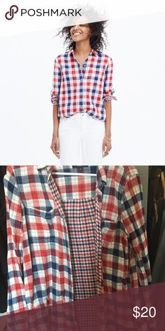 Madewell EX-BOYFRIEND SHIRT IN EMMETT PLAID EX-BOYFRIEND SHIRT IN EMMETT PLAID •	Item: E7464 •	Size: MEDIUM •	Color: FLAME RED  PRODUCT DETAILS A timeless plaid button-down shirt in a supersoft, not-too-heavy cotton. Slightly oversized with ready-to-roll sleeves, this version is just right.   •	True to size. •	Cotton. •	Machine wash. •	Import.  Great condition Madewell Tops Button Down Shirts