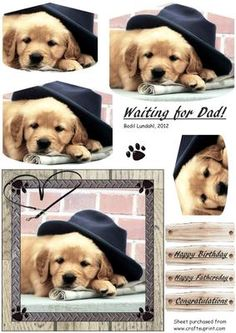 "Waiting for Dad  on Craftsuprint designed by Bodil Lundahl - A beautiful little puppy iw waiting for Dad to come home and take him for his walk int the park. An ""Easy to cut and easy to make-card"" for many occasions to a man. - Now available for download!"