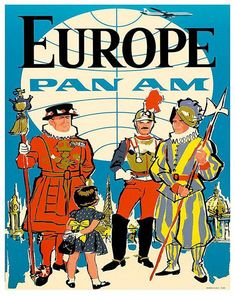 Giclee Print: Europe - Pan American Airways (PAA) - British Yeomen of the Guard, Pontifical Swiss Guard by Pacifica Island Art : Pan Am, Swiss Guard, Illustrations Vintage, Europe, Vintage Travel Posters, Vintage Airline, E Bay, Giclee Print, Wall Art Prints