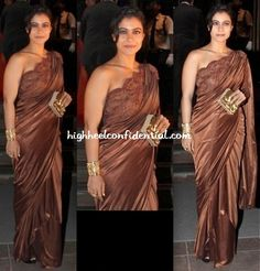 At a dinner hosted by Shatrugan Sinha, Kajol put in an appearance in a Amit Aggarwal sari Indian Bridal Lehenga, Indian Sarees, Indian Fashion, Women's Fashion, Pakistani Outfits, Indian Celebrities, Saree Styles, Prom Dresses, Formal Dresses