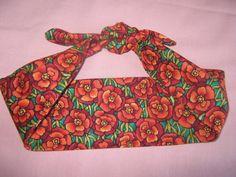 Rockabilly/vintage style ORANGE FLOWER print hair by LumeLapin, £4.00