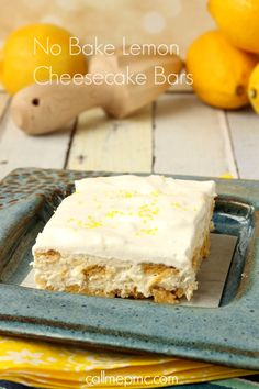 Enjoy these Luscious No-Bake Lemon Cheesecake Dessert Bars as a quick and simple dessert. This lemon cheesecake is extremely light and refreshing, which makes it a great dessert to enjoy in spring or summer. Chocolate Chip Cheesecake Bars, No Bake Lemon Cheesecake, Cheesecake Recipes, Easy Desserts, Delicious Desserts, Dessert Recipes, Lime Desserts, Indian Desserts, Frozen Desserts