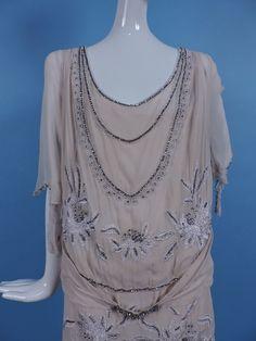 1920's silk chiffon flapper dress w rhinestone & embroidery. Detail