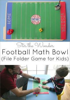 Football Math Bowl, file folder game for kids   Hands-on Activities for Kids at Stir the Wonder