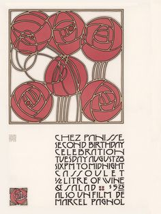 Chez Panisse Second Birthday Celebration (1973), a poster designed by David Lance Goines in an homage to the Jugendstil style of the Vienna Workshops and Vienna Secession movement.