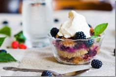 -{ Pioneer Blackberry Cobbler - Five ingredient fresh Blackberry cobbler with maple whipped cream Just Desserts, Delicious Desserts, Dessert Recipes, Yummy Food, Brownies, Muffins, Blackberry Cobbler, Breakfast Dessert, Yummy Eats