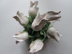 Capidomonte white rose porcelain bisque by MidModandMorganstern, $35.00