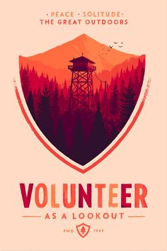 Illustration and design by Olly Moss  Poster for Firewatch, a video game