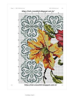 ESK.CROSSstitch: LİLYUM SECCADE kanaviçe modeli Cross Stitch Rose, Cross Stitch Borders, Cross Stitch Flowers, Cross Stitching, Cross Stitch Patterns, Prayer Rug, Hibiscus, Needlework, Diy And Crafts
