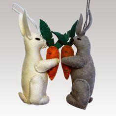 Rabbit Felt Ornaments - Kork: Fiber Art Group via Silk Road Bazaar | Touchstone Gallery