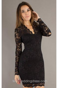 Best Short Scalloped Edge V-Neck Long Sleeve Lace Dress $122.09 - in light sky blue or plum