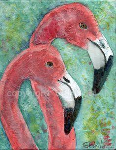 Flamingo Painting  bird wildlife watercolor by SchulmanArts