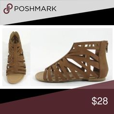 Sandals Fabulous brown sandals with zipper detail, perfect for any outfit! Recommend sizing down 1/2 size. Shoes Sandals
