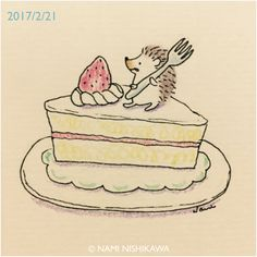 A big piece of cake Hedgehog Drawing, Hedgehog Art, Cute Hedgehog, Hedgehog Illustration, Cute Illustration, Dibujos Cute, Cute Creatures, Easy Drawings, Cute Art