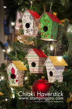 christmas 2016 birdhouse ornaments stampingprocom - Bird House Christmas Decoration