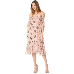 Tanya Taylor Textured Silk Abstract Floral Amylia Dress (794 AUD) ❤ liked on Polyvore featuring dresses, rose multi, white drape dress, floral midi dress, floral print midi dress, floral print dress and off shoulder floral dress