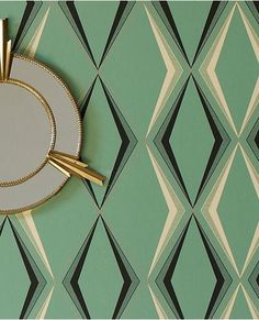 Inspired by 1930s glamour, this art-deco pattern takes its cue from the decade's emerald onyx ornaments and enamel kitchenware. Wallpaper Art Deco, Diamond Wallpaper, Modern Wallpaper, Of Wallpaper, Designer Wallpaper, Interior Wallpaper, Fashion Wallpaper, Wallpaper Patterns, Wallpaper Designs