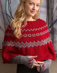 Fair Isle Poncho & Arm Warmers Free Knitting Pattern in Red Heart Yarns -- Dress up any winter outfit! Poncho Crochet, Poncho Knitting Patterns, Knitted Poncho, Knitting Designs, Knit Patterns, Modern Patterns, Scarf Knit, Sweater Patterns, Knit Cardigan