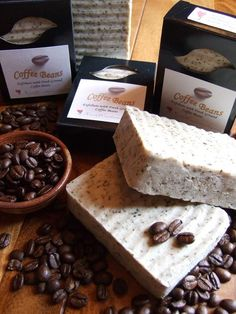 COFFEE BEANS with Coffee Butter and Fresh Ground Coffee Beans Large Handmade Soap Bar on Etsy, $5.00