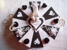 Schachteltorte - Hochzeit - Außergewöhnliches Geldgeschenk in Schwarz-Weiß-CreativAnita