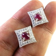 FREE SHIPPING 925 SOLID STERLING SILVER NATURAL MOZAMBIQ RUBY CAB GEMSTONE STUD #SilvexStore #Stud
