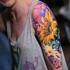Colorful Sunflower Tattoo, Sunflower Tattoos, Sunflower Mandala Tattoo, Great Tattoos, Body Art Tattoos, Hand Tattoos, Tatoos, Colour Tattoo For Women, Color Tattoo