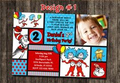 dr. suess birthday invitation | Cat in the Hat Dr Seuss First Birthday Party Photo Invitations ...